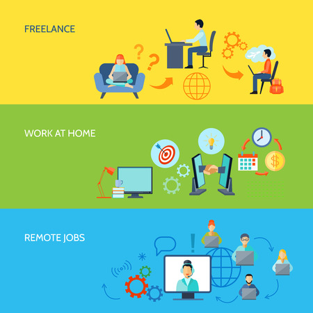 office environment: Freelance online work at home and remote jobs flat color banner set isolated vector illustration Illustration