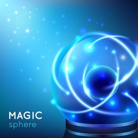 Glowing blue magic sphere on blue light background vector illustration Illustration
