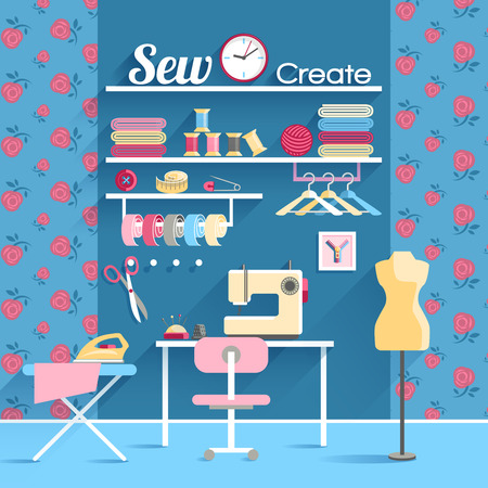 board room: Every woman dream sewing room for self made wardrobe with sewing machine and mannequin abstract vector illustration