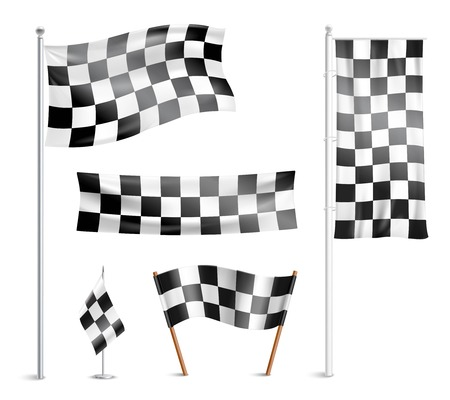prize winner: Typical chequered or checkered racing winner team  prize circuit flags indicating finish design collection abstract vector illustration