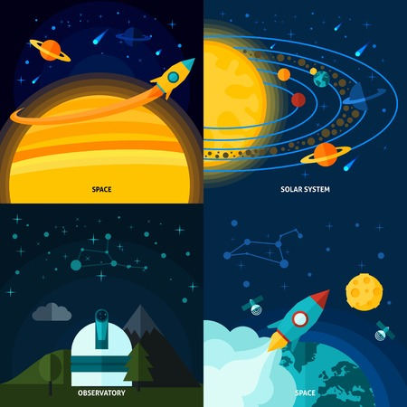 launching: Space and universe design concept set with solar system flat icons isolated vector illustration
