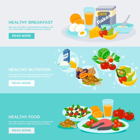 nutritious: Healthy food horizontal banner set with breakfast nutrition flat elements isolated vector illustration