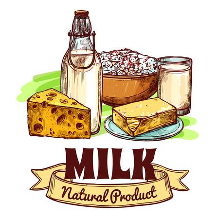 leche y derivados: La leche y los productos l�cteos naturales productos con color dibujado boceto del logotipo del texto mano concepto sin fisuras ilustraci�n vectorial
