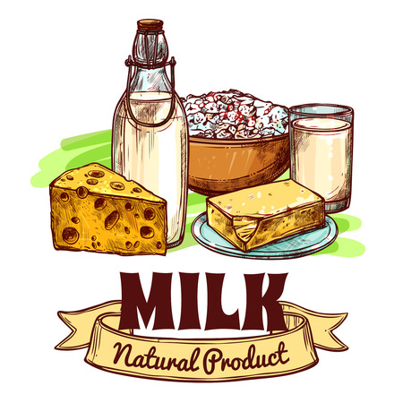 dairy products: Milk and natural dairy products with text logo sketch hand drawn color seamless concept vector illustration Illustration