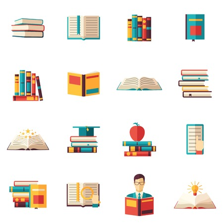 pile books: Books readers volumes open in piles sets and stacks flat color icon set isolated vector illustration Illustration
