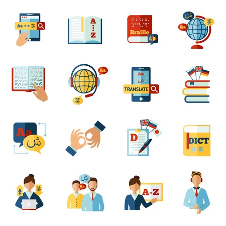 ebook: Different languages translator and dictionary icons set isolated vector illustration