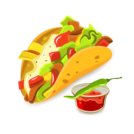 food art: Mexican tradition cuisine dish taco and chili pepper bright color flat concept isolated vector illustration