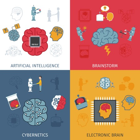 human intelligence: Artificial intelligence design concept set with electronic brain flat icons isolated vector illustration