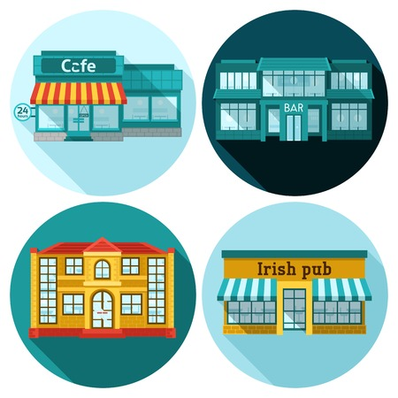 an exterior: Cafe building front exterior flat icons set isolated vector illustration