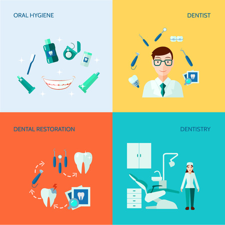 caries dental: Tratamiento, atenci�n dental y la higiene bucal color plano icono decorativo conjunto aislado ilustraci�n vectorial