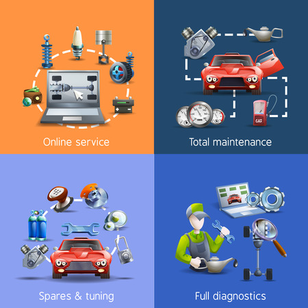 spares: Car maintenance and service cartoon icons set with spares and diagnostics isolated vector illustration Illustration