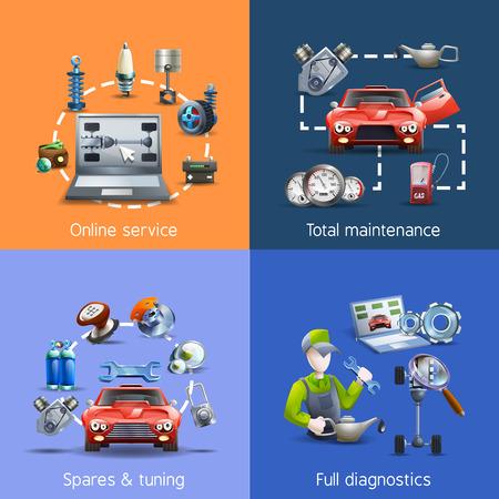 repuestos de carros: Iconos de mantenimiento de coches y servicio de dibujos animados creados con repuestos y diagnósticos aislados ilustración vectorial Vectores
