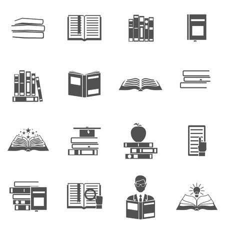 sapience: Books with bookmarks volumes in piles or sets and readers flat silhouette icon set isolated vector illustration