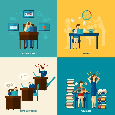 empleados trabajando: Frustración concepto de diseño conjunto con debilidad y apatía plana iconos ilustración vectorial aislado