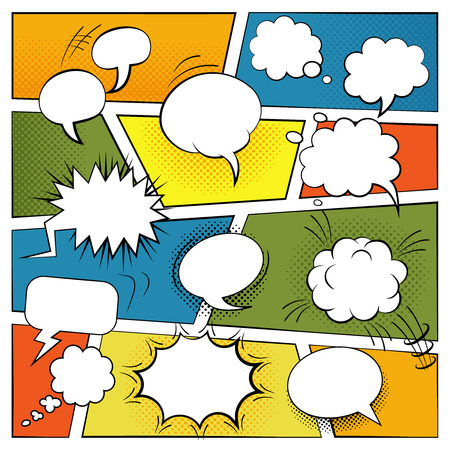 Blank comic speech and sound effects bubbles set flat vector illustration Çizim