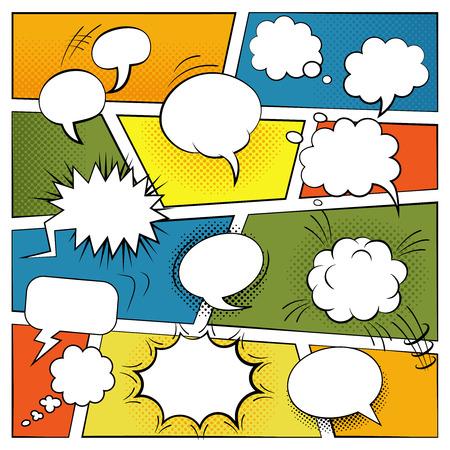 Discurso de cómic en blanco y efectos de sonido burbujas conjunto ilustración vectorial plana Vectores