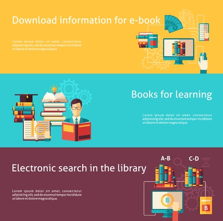 sapience: Electronic library and paper books for study and learning flat color horizontal banner set isolated vector illustration