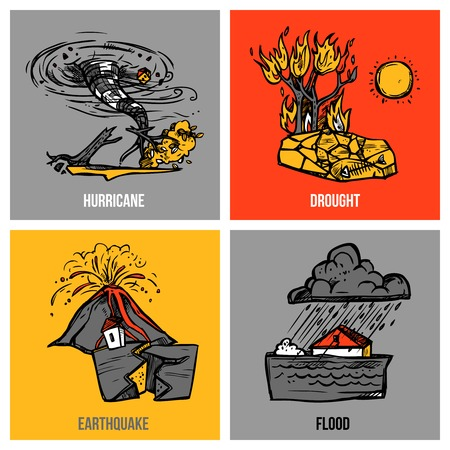 droughts: Natural disasters design concept set with hurricane and flood sketch isolated vector illustration
