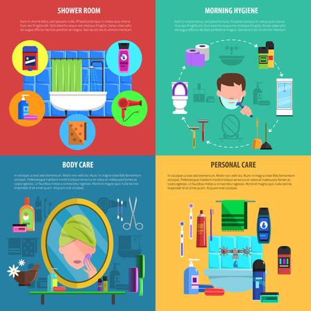 cuerpo hombre: Mañana ducha y cuerpo cuidado de rutina de higiene personal 4 iconos planos estandarte cuadrado abstracto vector ilustración aislada