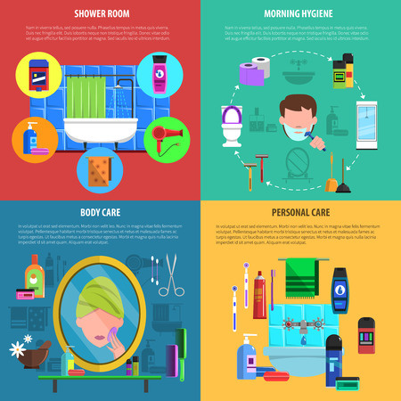 hygienic: Morning personal hygienic routine shower and body care 4 flat icons square banner abstract vector isolated  illustration