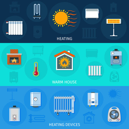 reflector: Warm house system and heating devices symbols color horizontal flat banner set isolated vector illustration