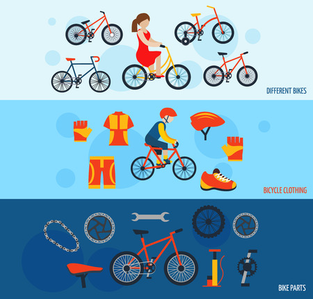 bicycle pump: City bicycles parts and components and cycling sportswear horizontal flat banners set abstract vector isolated illustration