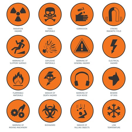 high voltage sign: Death and dangerous hazard black on orange icons set isolated vector illustration