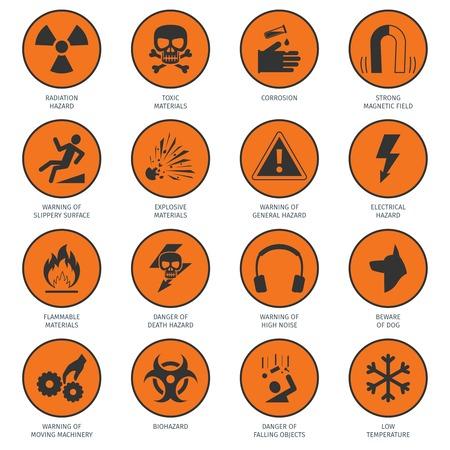 Death and dangerous hazard black on orange icons set isolated vector illustration