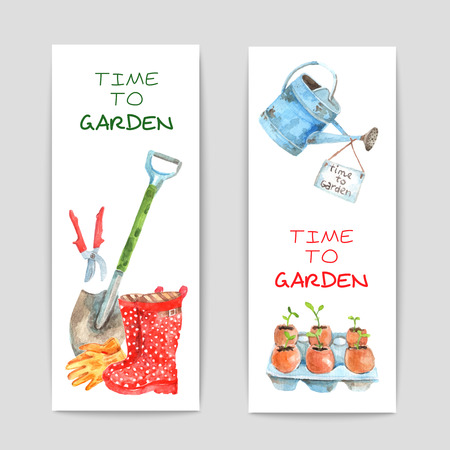 wateringcan: Gardening watercolor vertical banners set with spade and watering-can isolated vector illustration