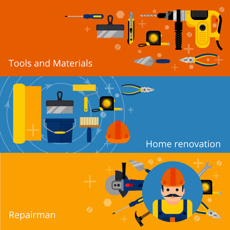 Home repairs and renovation horizontal concept banners with flat style power and hand tools and workman isolated vector illustration