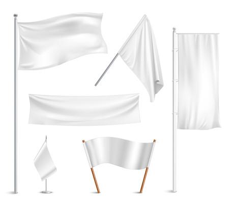 様々 な白い旗やバナー絵文字コレクションと下げられた位置の抽象的なベクトル図を半マスト