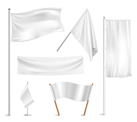 Various white flags and banners pictograms collection with hoisted and half-mast lowered positions abstract vector illustration Vectores