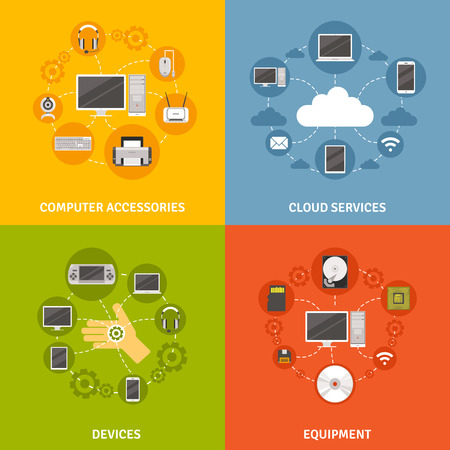 electronic components: Computer devices accessories and equipment and cloud service scheme  flat icon set isolated vector illustration