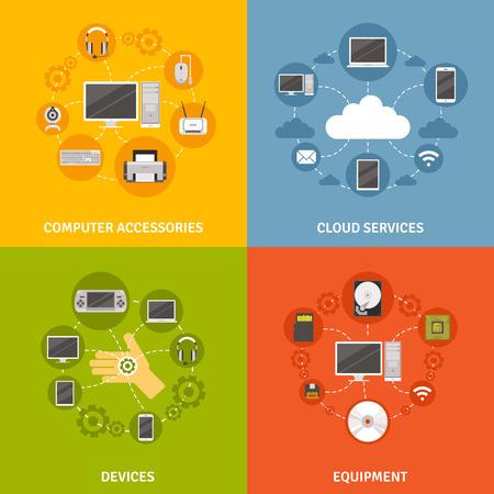Dispositivos informáticos accesorios y equipos y el esquema de servicio en la nube icono plana conjunto aislado ilustración vectorial