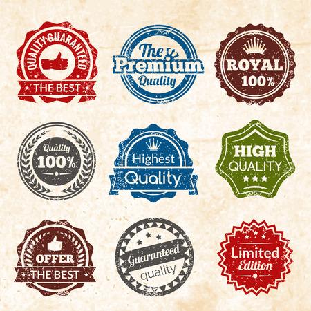 back round: Vintage highest guaranteed quality best offer and limited edition round color stamps isolated vector illustration Illustration