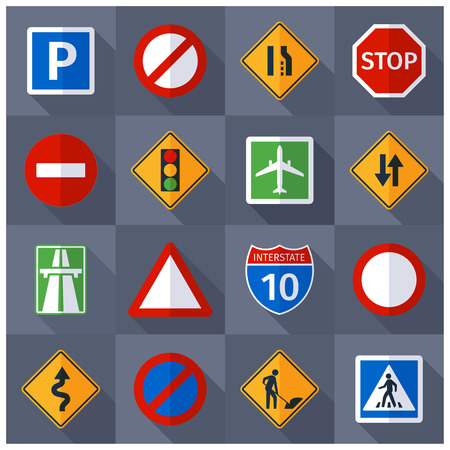 a sign: Basic road traffic warning regulatory prohibiting and informative signs flat  pictograms banner print abstract vector isolated  illustration