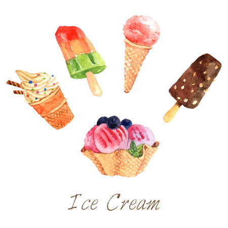 dessert: Ice cream cold dairy dessert watercolor set isolated vector illustration