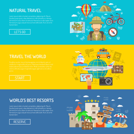 natural color: Natural travel around the world and best resorts flat color horizontal banner set isolated vector illustration