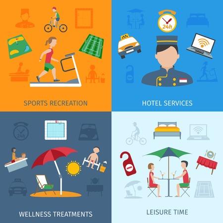 sports massage: Los servicios del hotel concepto de dise�o conjunto con recreaciones deportivas y tratamientos de bienestar iconos planos ilustraci�n vectorial