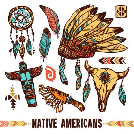indios americanos: Nativo americano cráneo del estilo de pandereta capo de la guerra con el color de las plumas decorativas conjunto de iconos aislado ilustración vectorial