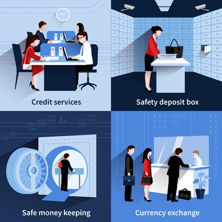 Bank people design concept set with credit services and safe money keeping flat icons isolated vector illustration Vettoriali