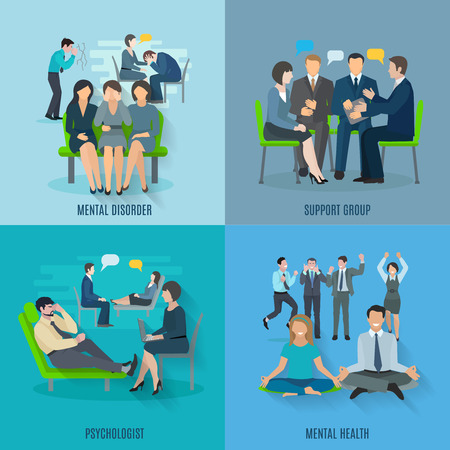 psychologist: Mental disorder treatment by psychologist and support group 4 flat icons square banner abstract isolated vector illustration