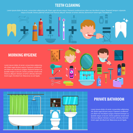 morning routine: Morning personal hygienic routine of brushing teeth in private bathroom flat horizontal banners set  abstract vector illustration