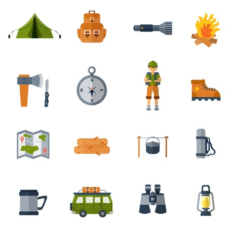Camping flat icons set with binocular tent camper and firewood isolated vector illustration Illustration