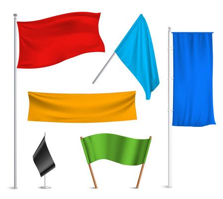 Verschillende kleuren vlaggen en spandoeken pictogrammen collectie met zwarte racing en blauwe half-personeel gehesen abstracte illustratie Stock Illustratie