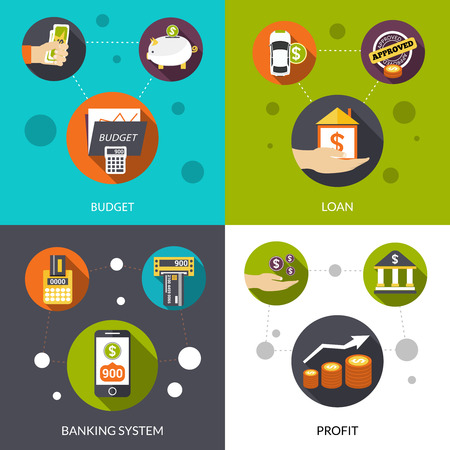 loan: Banking system loan and financial profit flat design decorative icons isolated vector illustration