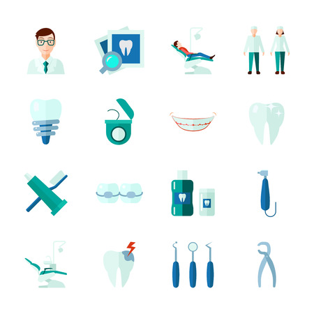 Dental icons set with teeth medical instruments and clinic flat isolated vector illustration