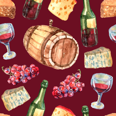 wine and cheese: Wine watercolor seamless pattern with cheese grapes bottles and glass vector illustration