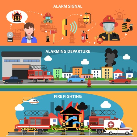 firefighting: Fire fighting departure horizontal banner set with alarm signal elements isolated vector illustration