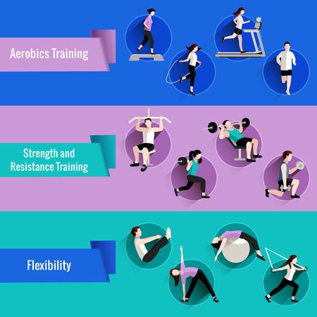 gimnasia aerobica: Fuerza aeróbicos fitness y entrenamiento de resistencia para los hombres y mujeres banderas planas conjunto abstracto aislado ilustración vectorial Vectores